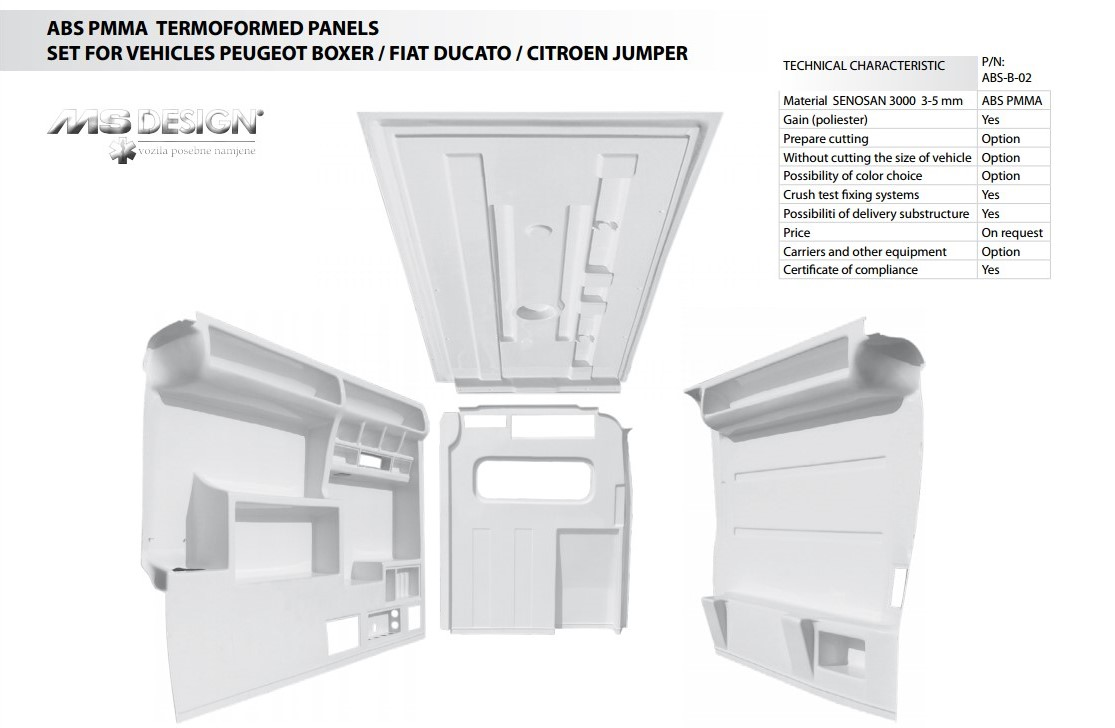ABS Thermoformed panels for Peugeot Boxer / Fiat Ducato / Citroen Jumper