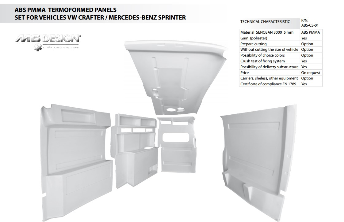 ABS Thermoformed panels set for VW Crafter / Mercedes-Benz Sprinter
