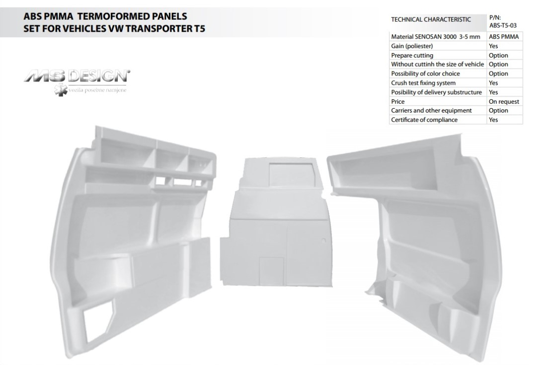 ABS Thermoformed panels set for VW Transporter T5